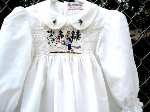 Hand Smocked Hand Embroidered Baby Dress Size 1 Winter