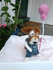 hand felted dog